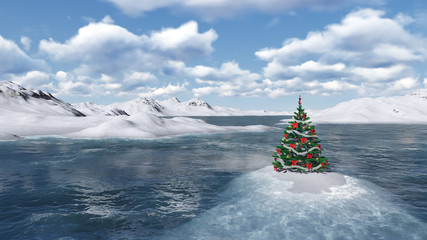 Christmas tree on the cold ocean