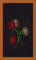Tarot cards - back design, Balls of yarn with needles