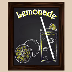 Lemonade in a glass with a lemon