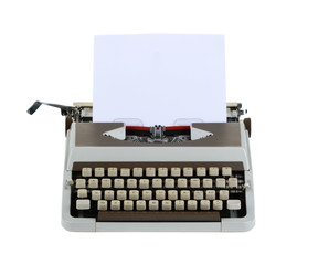 Typewriter with sheet of paper isolated on white background.whit