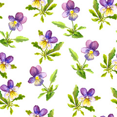 Seamless romantic textile texture with violet viola flowers