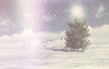 Retro 3D Christmas winter scene