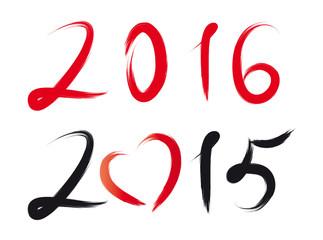 Silvester, Neujahr - Jahreswechsel 2016 - Ziffern und Herz