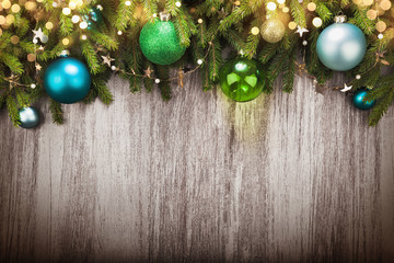 Christmas decorations with bokeh effect