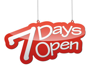 red vector background seven days open