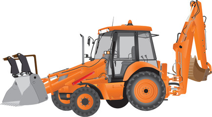 An Orange Bucket Excavator and Backhoe isolated on white