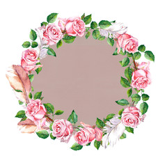 Rose flower wreath with feathers. Floral circle border. Water colour