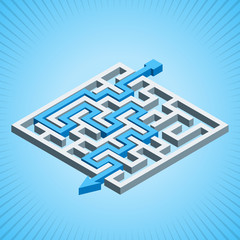 Isometric maze, labyrinth solution concept on a blue background