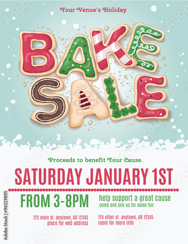 Christmas Holiday Bake Sale Flyer Template With Hand Drawn Cookie