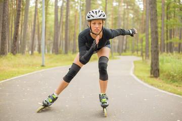 Active woman roller skating