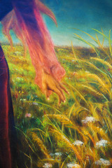 painting on canvas of a vibrant spring meadow full of wild colorful flowers in the bright sunny day. And detail fairy woman hand