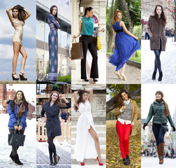 Collage of ten different models in fashionable clothes for the s