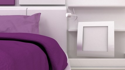 Empty picture frame shelves in classic bedroom interior background detail. Bed, nightstand, pillow, sheets and blanket. Copy space image. 3d render