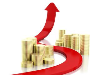 3d gold coins and graph arrow. Success concept