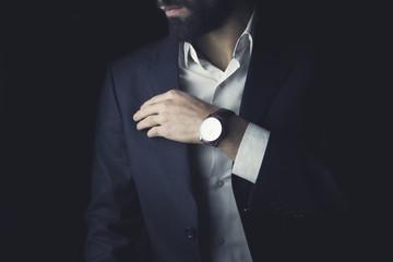 businessman standing the studio