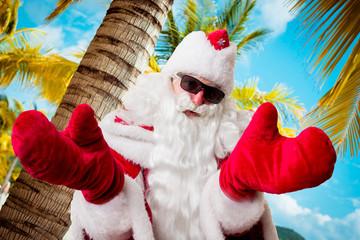 Santa Claus on the beach.