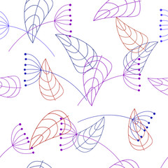 seamless pattern of plant elements - vector illustration