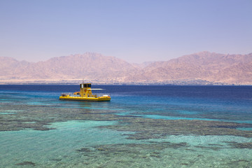 Yellow boat In Red Sea, Eilat, Israel