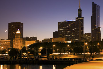 Fototapete - Moon in Chicago