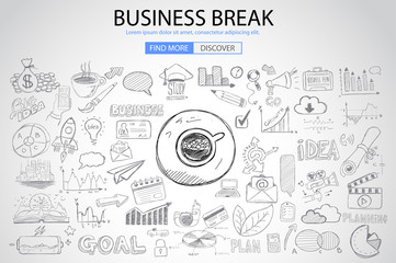 Business Break concept with Doodle design style