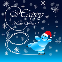 New Year on blue background snowman skating congratulates