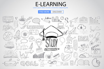 Educational and Learning concept with Doodle design style