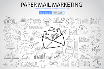 Paper email Marketing with Doodle design style