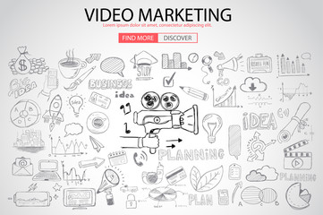 Video Marketing concept with Doodle design style :