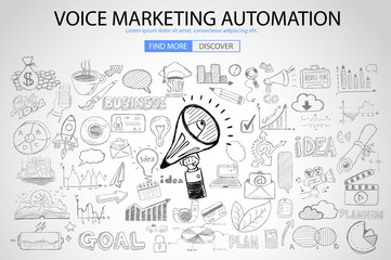 Voice Marketing concept with Doodle design style
