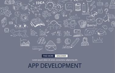 App Development Concept with Doodle design style