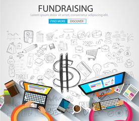 Fundraising concept with Doodle design style