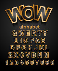 Christmas Golden Alphapet Font to use for children's parties