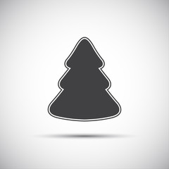 Simple vector icon of christmas tree on white background