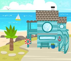 Beach House - Cartoon beach house in front of an ocean view. Eps10