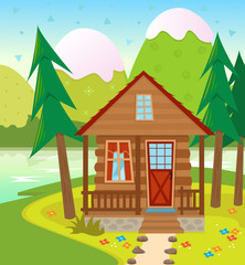 Cabin - A Cabin in the woods with a lake and snow capped mountains in the background. Eps10