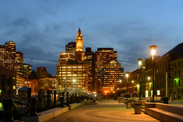 Boston Custom House, Long Wharf and Financial District skyline at night, Boston, Massachusetts, USA