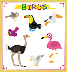 Birds Icons - Cute cartoon set of seven different types of birds. Eps10