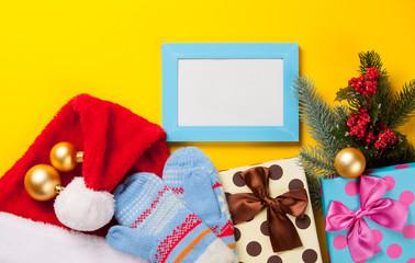 Christmas gifts and photo frame