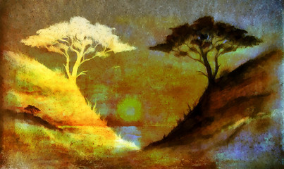 Painting sunset, sea and tree, wallpaper landscape, color collage. and abstract grunge background with spots.