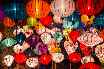 Paper lanterns on the streets of old Asian  town Wall mural