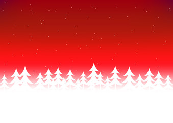 Christmas tree snow red sky