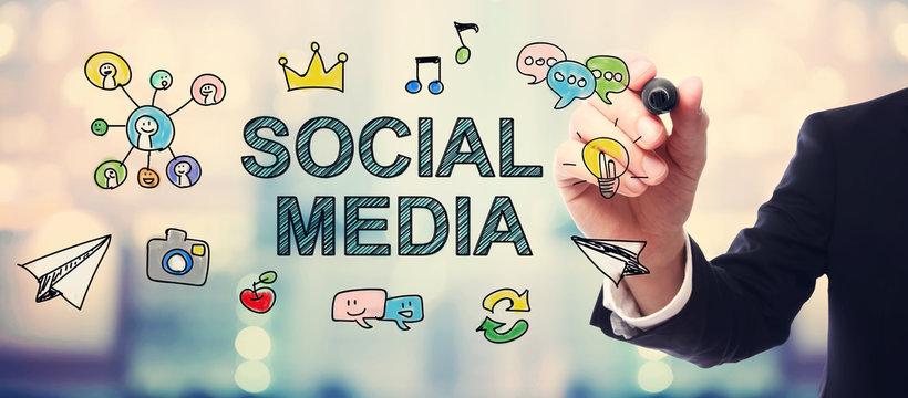 Businessman drawing Social Media concept
