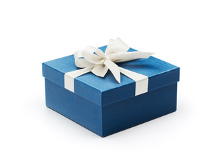 Blue gift box with white bow
