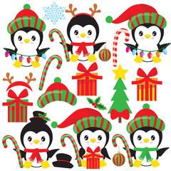 Christmas penguin vector illustration