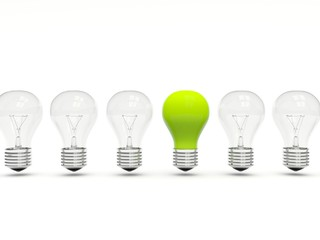 Green light bulb in a row