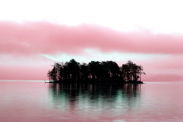 ir landscape with spooky alone island
