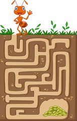 Help ant to find way to food grains in an underground maze