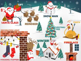 beautiful graphic design of christmas, top ten of christmas consist of Santa Claus, Reindeer, Snow man, Christmas tree, christmas meal, fireplace, winter, decoration light,stocking stuffers,gift