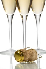 champagne with cork