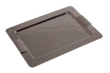 Empty rectangular stainless steel tray